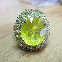 """Яркий перстень """"Лимонный"""" с желтыми  сапфирами , размер 18.4  студия LadyStyle.Biz, фото 1"""