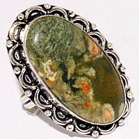 Восточное кольцо с  зеленой яшмой  , размер 18.1 от Студии  www.LadyStyle.Biz, фото 1