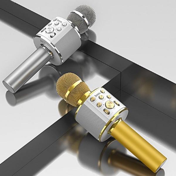 Микрофон беспроводной для караоке Hoco BK3 Cool sound KTV Bluetooth microphone Золотистый