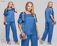 Женский стильный летний костюм №071 (р.48-62) джинс, фото 1