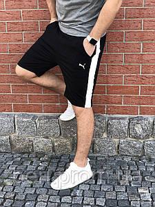 Мужские Повседневные Шорты с лампасом (Весна/Лето) Пума   Puma   Черный цвет.