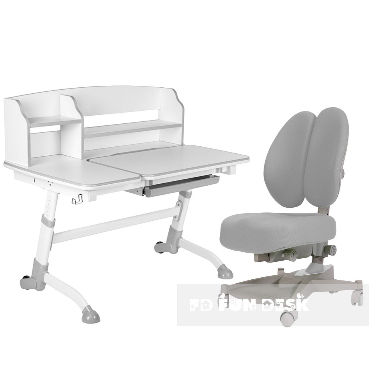 Подростковая парта для школы FunDesk Amare II Grey + ортопедическое кресло FunDesk Contento Grey