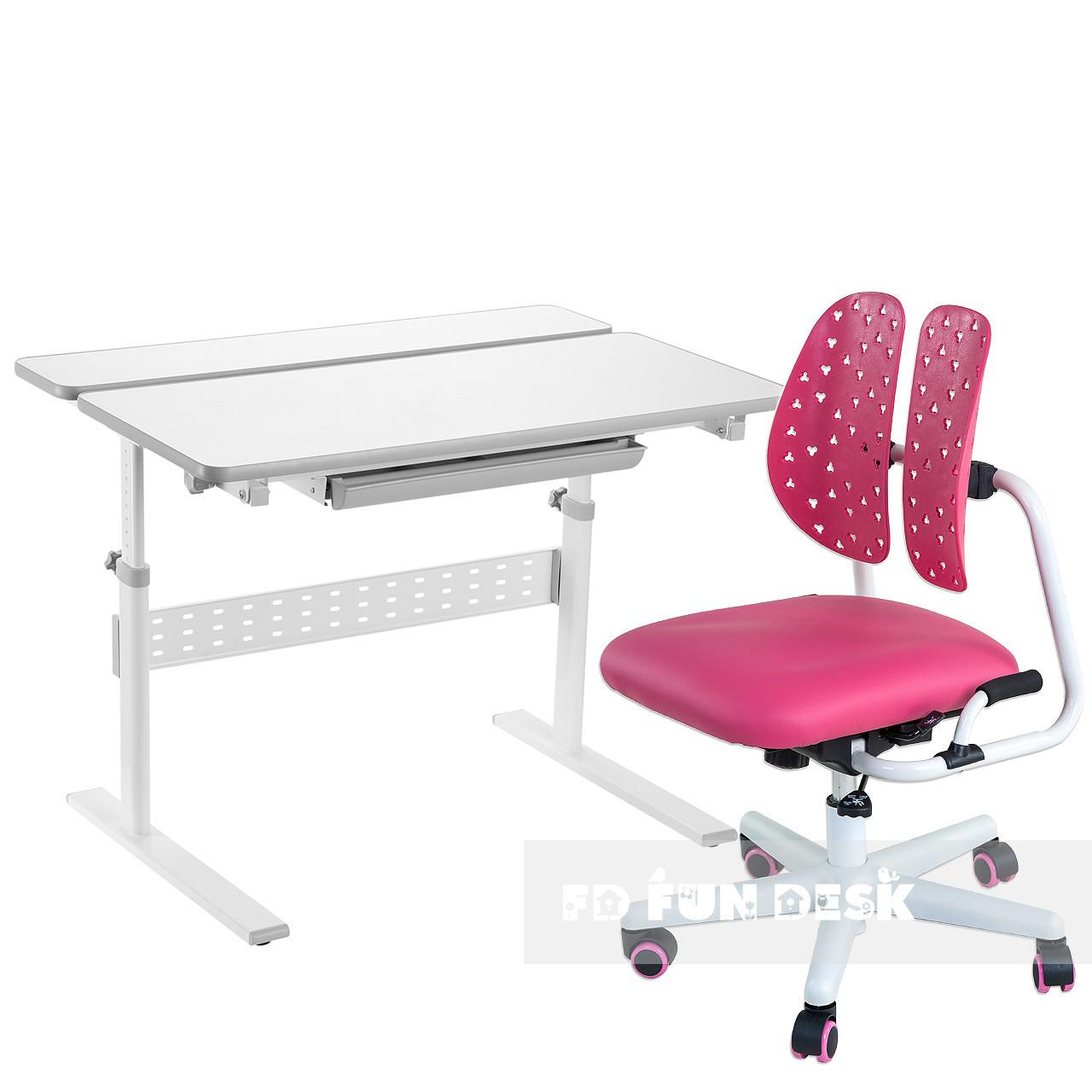 Комплект парта Colore Grey + детское ортопедическое кресло SST2 Pink FunDesk