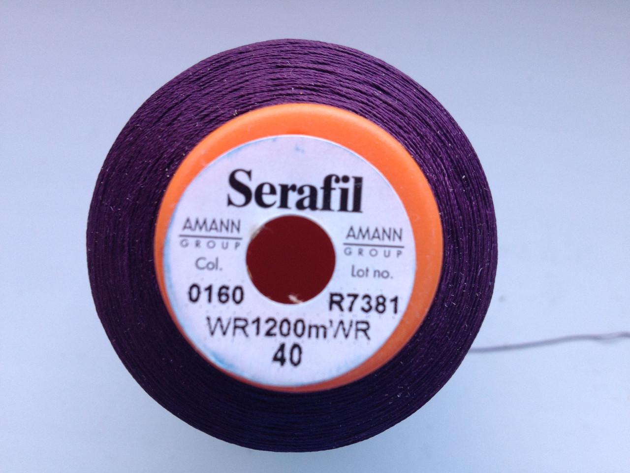 Amann Serafil  №40.  цвет 0160 (  ТЁМНО ФИОЛЕТОВЫЙ ).  1200 м