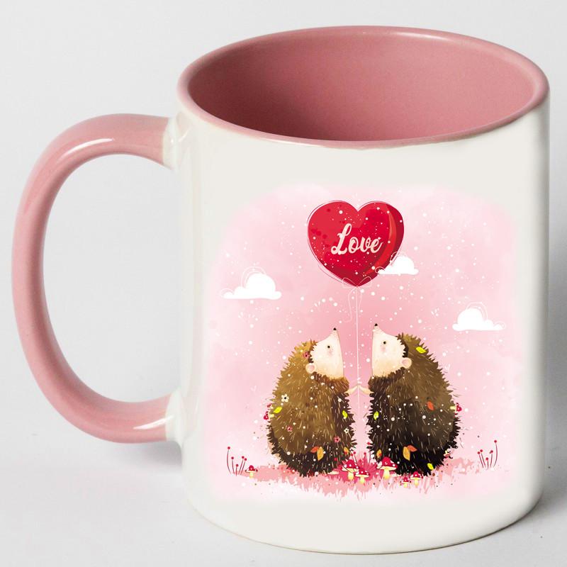 "Чашка ""Влюблённые ёжики"""