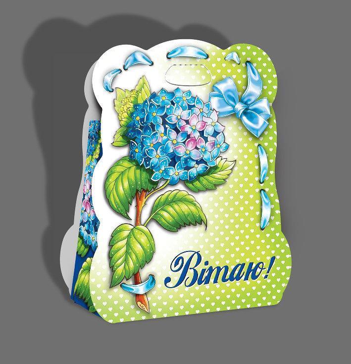 Картонная подарочная упаковка Сумочка  - Гортензия, 400г