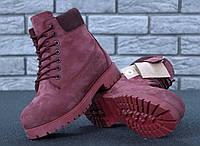 Зимові черевики Timberland Wine, жіночі черевики з натуральним хутром. ТОП Репліка ААА класу.
