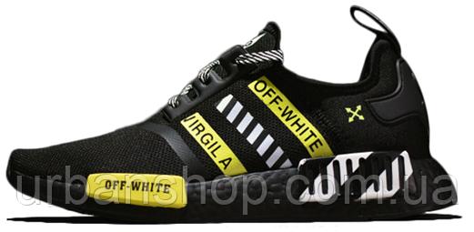 Чоловічі кросівки Off-White X AD NMD R1 Black White Green. ТОП Репліка ААА класу.