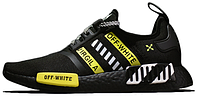Чоловічі кросівки Off-White X AD NMD R1 Black White Green. ТОП Репліка ААА класу., фото 1