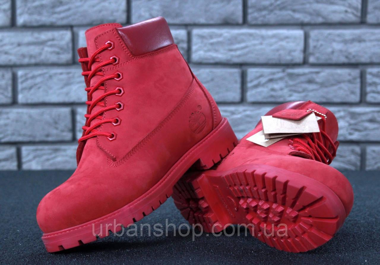 Зимові черевики Timberland Red, жіночі черевики с натуральным хутром. ТОП Репліка ААА класу.