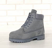 Зимові черевики Timberland grey, жіночі черевики з вовняним хутром. ТОП Репліка ААА класу.