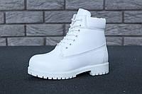 Зимові черевики Timberland White, жіночі черевики з вовняним хутром. ТОП Репліка ААА класу.
