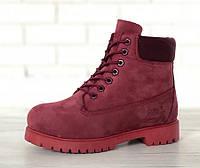 Зимові черевики Timberland Wine, жіночі черевики с шерстяным хутром. ТОП Репліка ААА класу., фото 1