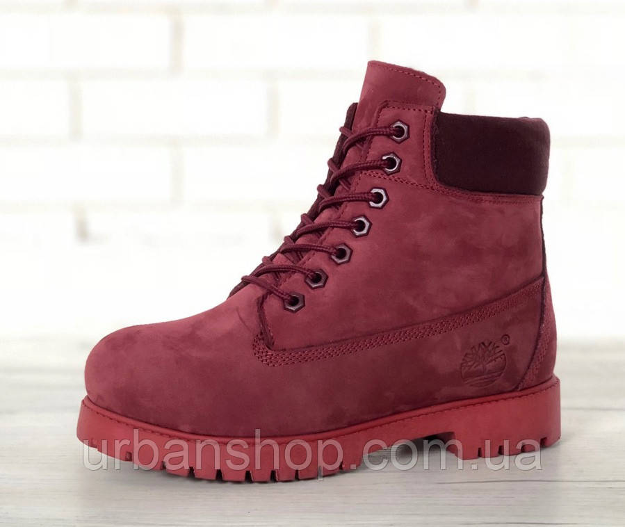 Зимові черевики Timberland Wine, жіночі черевики с шерстяным хутром. ТОП Репліка ААА класу.