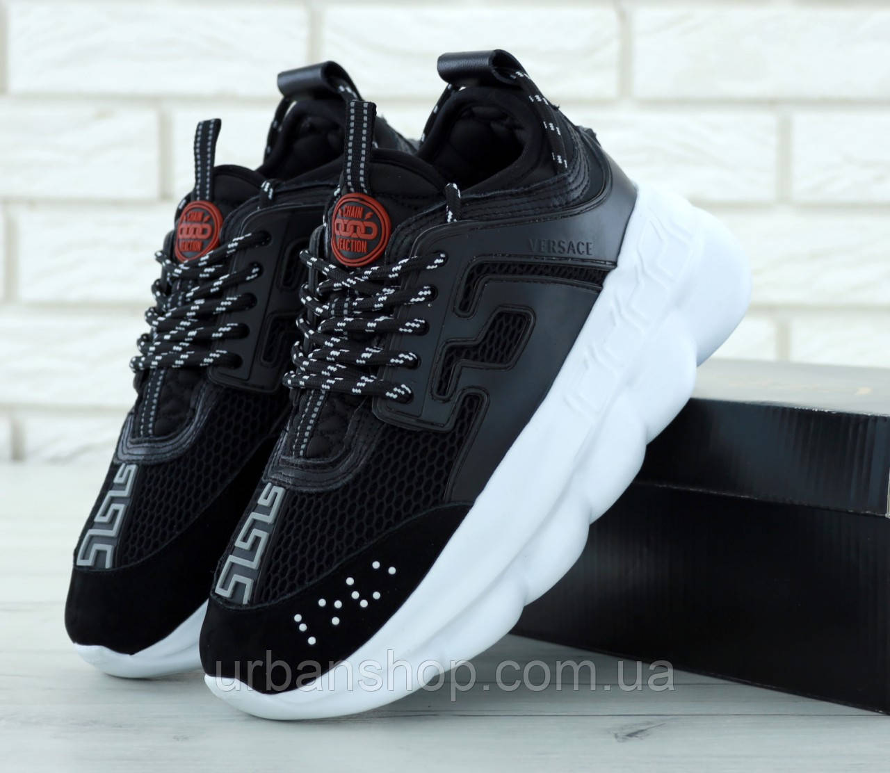 Жіночі кросівки версаче, Versace Chain Reaction Sneakers Black. ТОП Репліка ААА класу.