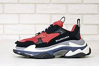 Кросівки чоловічі Balenciaga Triple S баленсіага червоні . Багатошарова підошва . ТОП Репліка ААА класу.