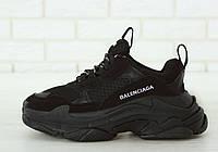 Кросівки чоловічі Balenciaga Triple S баленсіага чорні  . Багатошарова підошва . ТОП Репліка ААА класу.