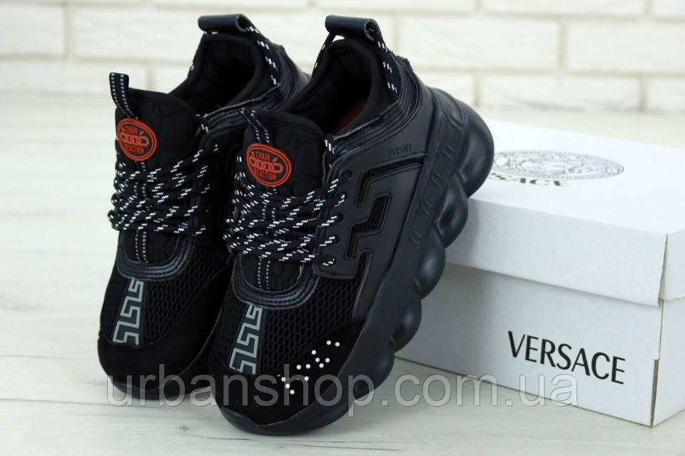 Чоловічі кросівки версаче, Versace Chain Reaction Sneakers Black/Black. ТОП Репліка ААА класу.