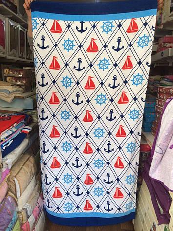 Банное полотенце с принтом 100% Турция 75*150 см в ассортименте, фото 2