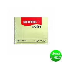 Блок для заметок с клейким слоем 75х100 мм Kores, 100 листов, желтый K46100