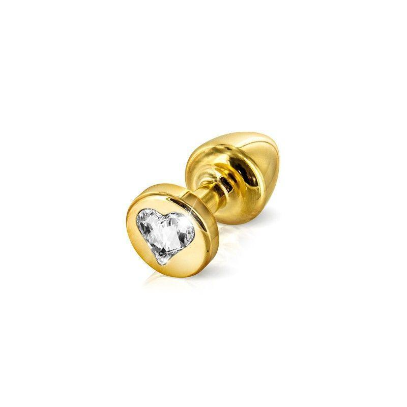 Анальна пробка з стразом Diogol Anni R Heart Gold Кристал 25мм
