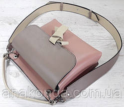 567-к Сумка кросс-боди женская, натуральная кожа, комбинированная розовая пудра пудровая темная бежевая , фото 2