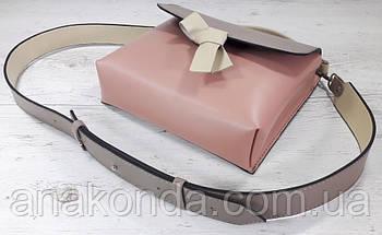 567-к Сумка кросс-боди женская, натуральная кожа, комбинированная розовая пудра пудровая темная бежевая , фото 3