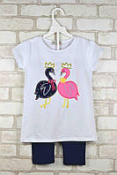 Комплект (футболка+капри) для девочки Лебеди белый возраст 3-4 года 98/104 см