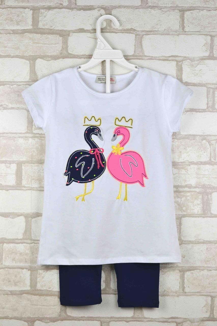 Комплект (футболка+капри) для девочки Лебеди белый возраст 5-6 лет 110/116 см