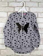 Туника для девочки Butterfly серая возраст 5 лет 110 см