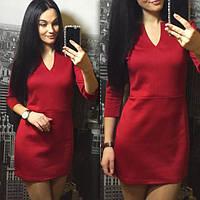 cbe5a8ff6e8 Женское платье короткое облегающее красное дайвинг 007 03 ЕМ
