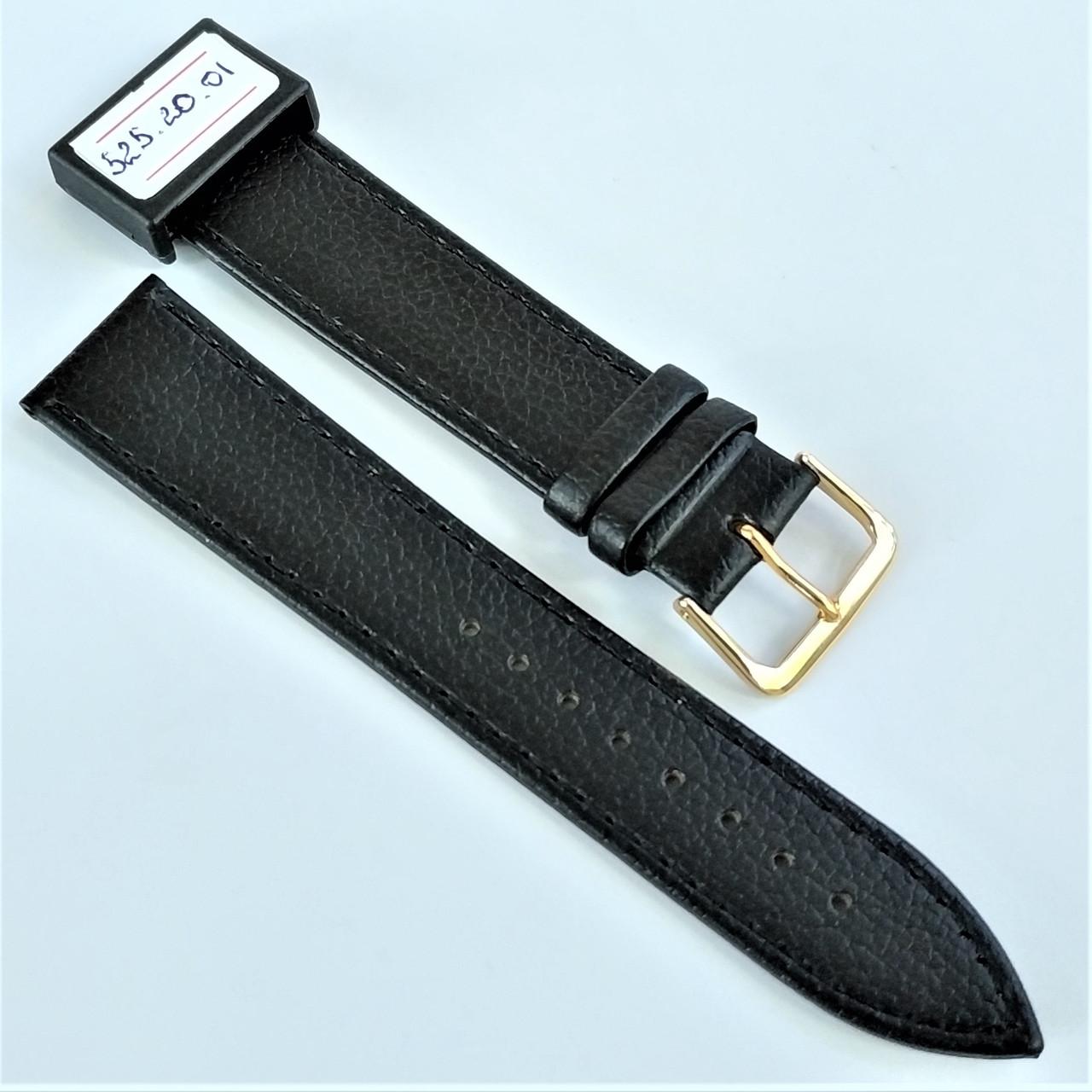 20 мм Кожаный Ремешок для часов CONDOR 525.20.01 Черный Ремешок на часы из Натуральной кожи