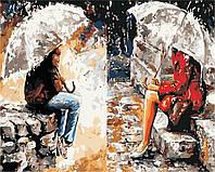 Картина за номерами в коробці Думки про тебе AS0435 40*50см. Artstory. Романтика. Влюбленные. Пара под зонтом
