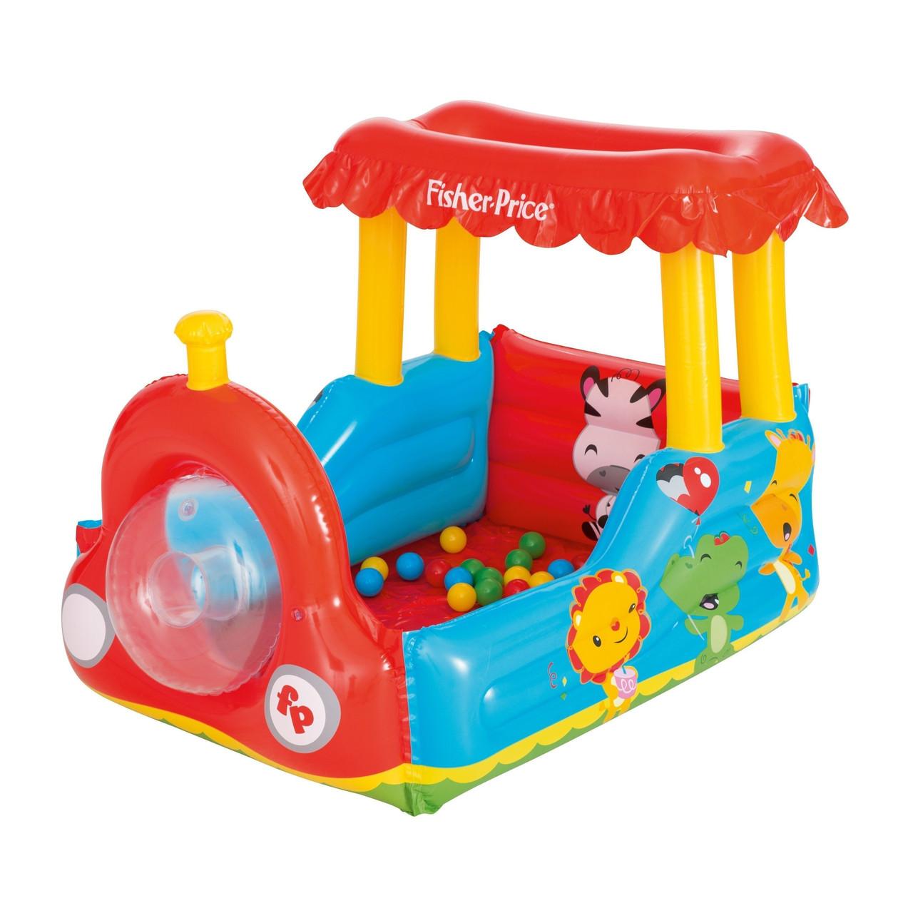 Надувной детский игровой центр-домик Bestway 93503 «Паровоз» с шариками 25 шт
