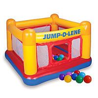 Надувной детский игровой батут Intex 48260-1 «Jump-O-Lene» с шариками 10 шт