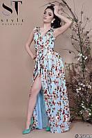 Платье халат женское нарядное Золотые цветы голубое