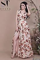 Платье халат женское нарядное Золотые цветы бежевое