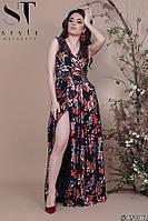 Платье халат женское нарядное Золотые цветы черное