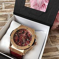 Стильные женские наручные часы Big Bang Gold  Змея (Snake) красные