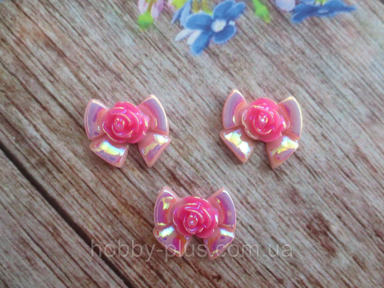 """Серединка для заколок """"Бантик с цветочком"""", розовый"""