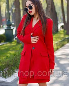 Женский строгий юбочный костюм с пиджаком (м642 mrb)