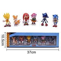 Набор Игрушки-фигурки Соник Ежик Super Sonic и его друзья в коробке, 6 шт