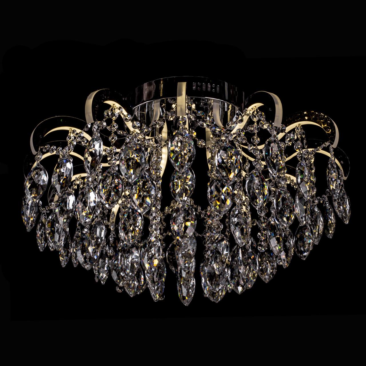 Кришталева люстра зі світними ріжками на 4 лампочки Прометей P5-E1625/4+12