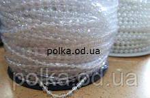 Прозрачные бусины с перламутром на белой нитке (1 уп-100м) размер бусин 3мм
