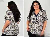 Блузка летняя с принтом буквы, с 52-58 размер, фото 1