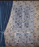 """Тюль батист """"голубые цветы"""", фото 1"""
