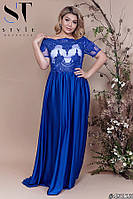 Платье женское вечернее шелковое Вензеля электрикБатал