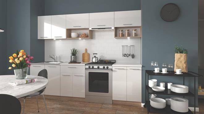 Кухня Viola 260(сонома/белый глянец)  (Halmar)