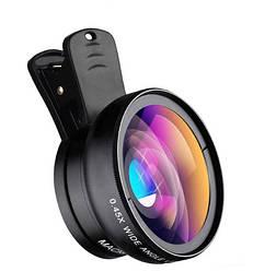 Объектив оптика широкий + макро линза для iphone смартфона черная