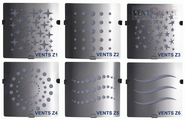 ВЕНТС 100 3 ― варианты оформления декоративной лицевой панели из шлифованной стали, не подверженной ржавлению, дизайнерских вентиляторов. Ассортимент насчитывает 6 вариантов лицевой панели, которыми соответственно оснащены вентиляторы Вентс 100 З1, Вентс 100 З2, Вентс 100 З3, Вентс 100 З4, Вентс 100 З5,Вентс 100 З6.